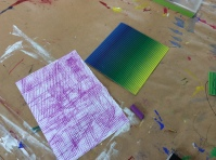 Make rubbing to create textured papers