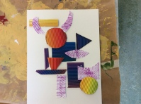 Cut shapes with the textured paper and glue