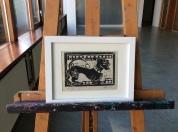 2. Dachshund lino cuts 20.5 x 26.5 cm white gray frame 25e