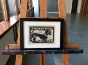 3. Dachshund lino cuts 20.5 x 26.5 cm black frame 25e