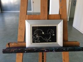 4. Dachshund lino cuts 18 x 23 cm silver frame 50 e (one print)