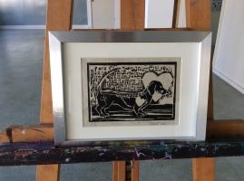 5. Dachshund lino cuts 20.5 x 26.5 cm silver frame 25e