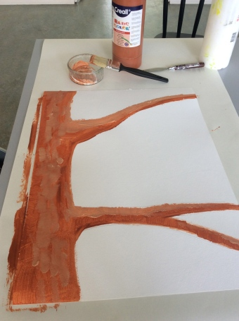 the making of a tree in paint