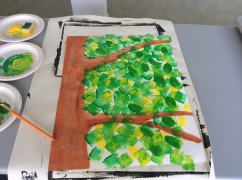a painting of a trees