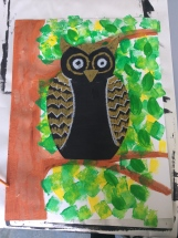 a drawing of a owl collage