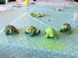Papier-mache turtles