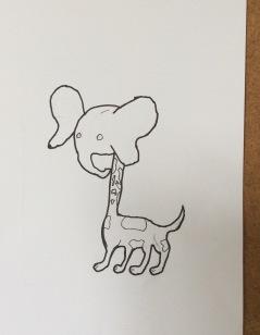 Elephant head, giraffe neck & a dog's legs